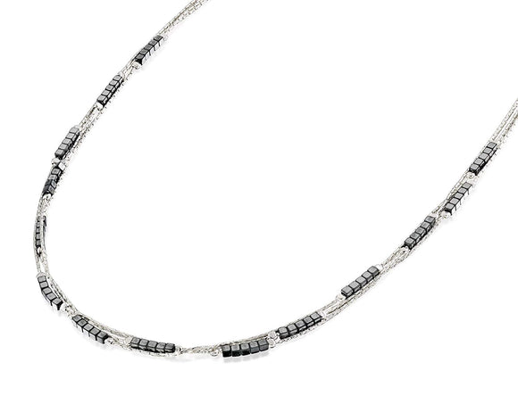 Stylish Triple Row 925 Sterling Silver Necklace with 2x2 mm Cube Square Hematite Beads, 18