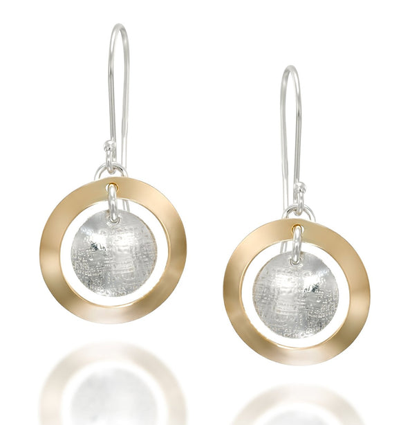 Silver & Gold Multi Circle Dangle Earrings Handmade Women's Jewelry