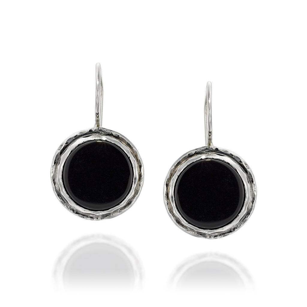 Women's Retro Round 925 Sterling Silver and Black Onyx Earrings with Secure Backs
