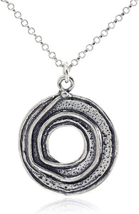 925 Sterling Silver Wheel Shaped Pendant Necklace with Spiral Design, 18 + 4 Inches