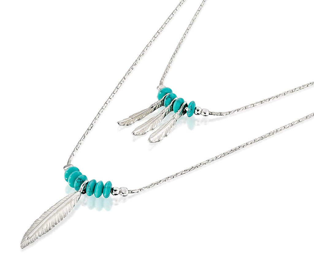 Women's 925 Sterling Silver Multi-Layer Necklace with Turquoise Beads and Feather Charms, 18""