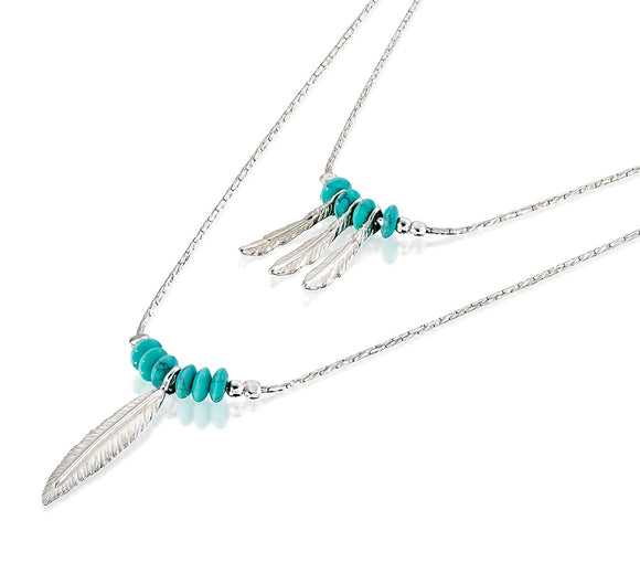 Women's 925 Sterling Silver Multi-Layer Necklace with Turquoise Beads and Feather Charms, 18