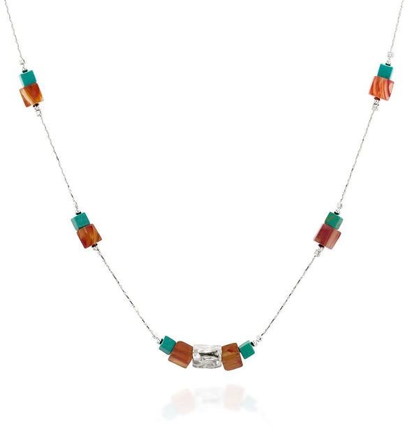 Turquoise & Carnelian 925 Sterling Silver Square Bead Necklace Stylish Women's Jewelry, 18