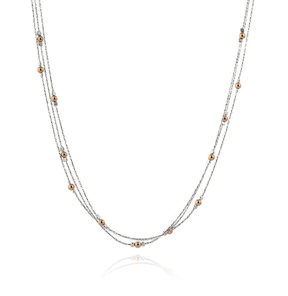 Triple Strand Silver Necklace With Gold Bead Stations, 18