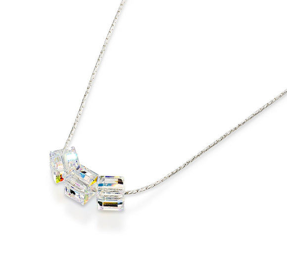 Swarovski AB Crystal Cube Silver Necklace, 18