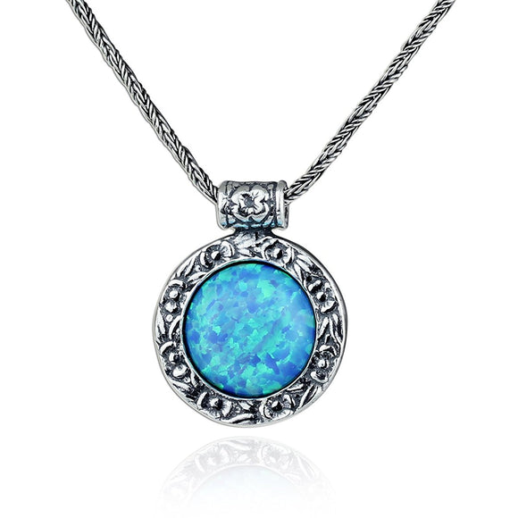 Antique Style Sterling Silver Blue Fire Opal Pendant Necklace, 20