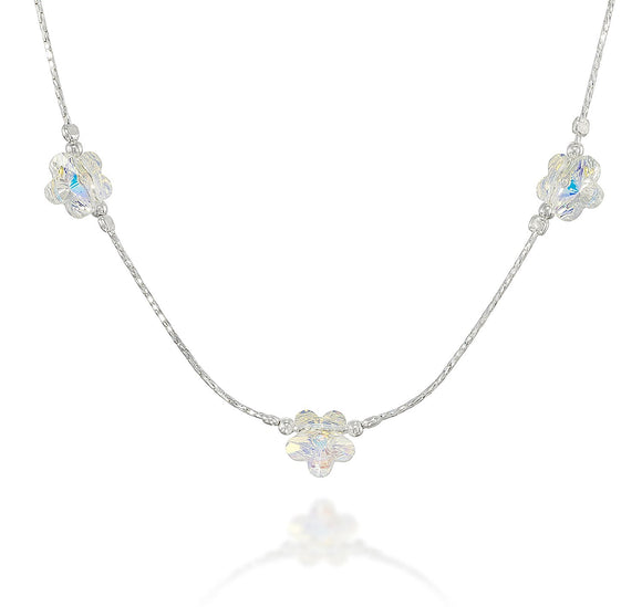 Girls Swarovski AB Crystal Flowers Necklace, 16