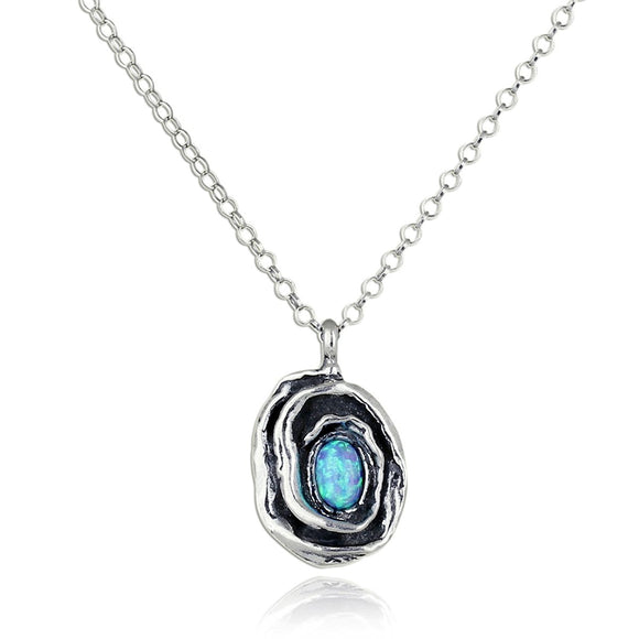 Rose Pendant with Created Blue Fire Opal in 925 Sterling Silver Necklace, 18