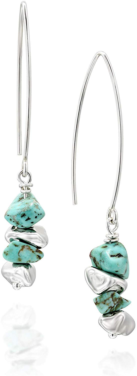 Stera Jewelry Women's 925 Sterling Silver Long Wire Threader Howlite Earrings with Silver Beads