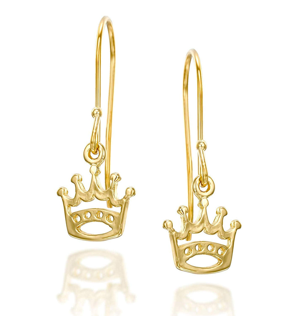 14k Gold Plated Silver Dainty Crown Earrings for Girls, Teens & Women