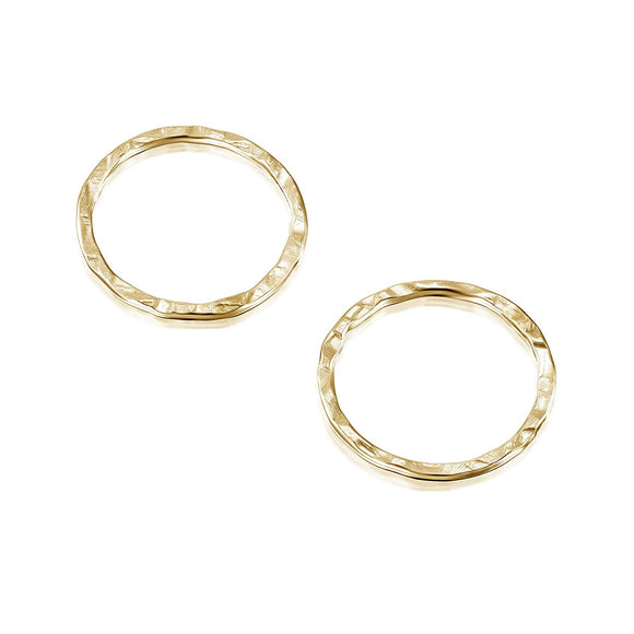14k Gold-Filled 12 mm Hand Hammered Hoops Rings or Loops Jewelry Findings for Your DIY Earrings Necklaces & Bracelets Creations, 6 Pcs
