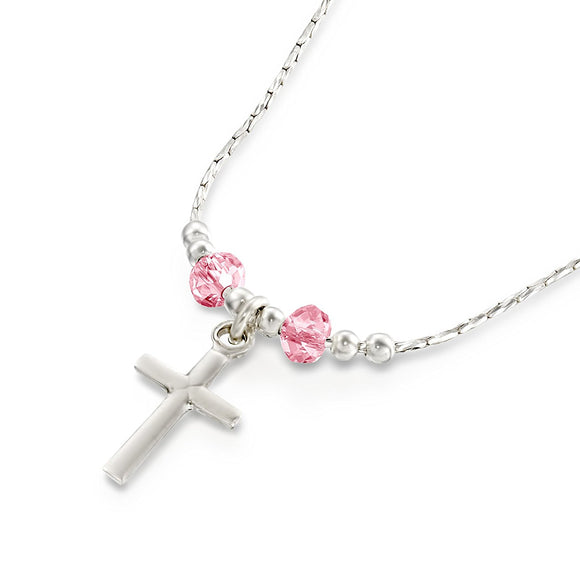 Girls Dainty Silver Cross Pendant Necklace with Pink Swarovski Crystals, 16