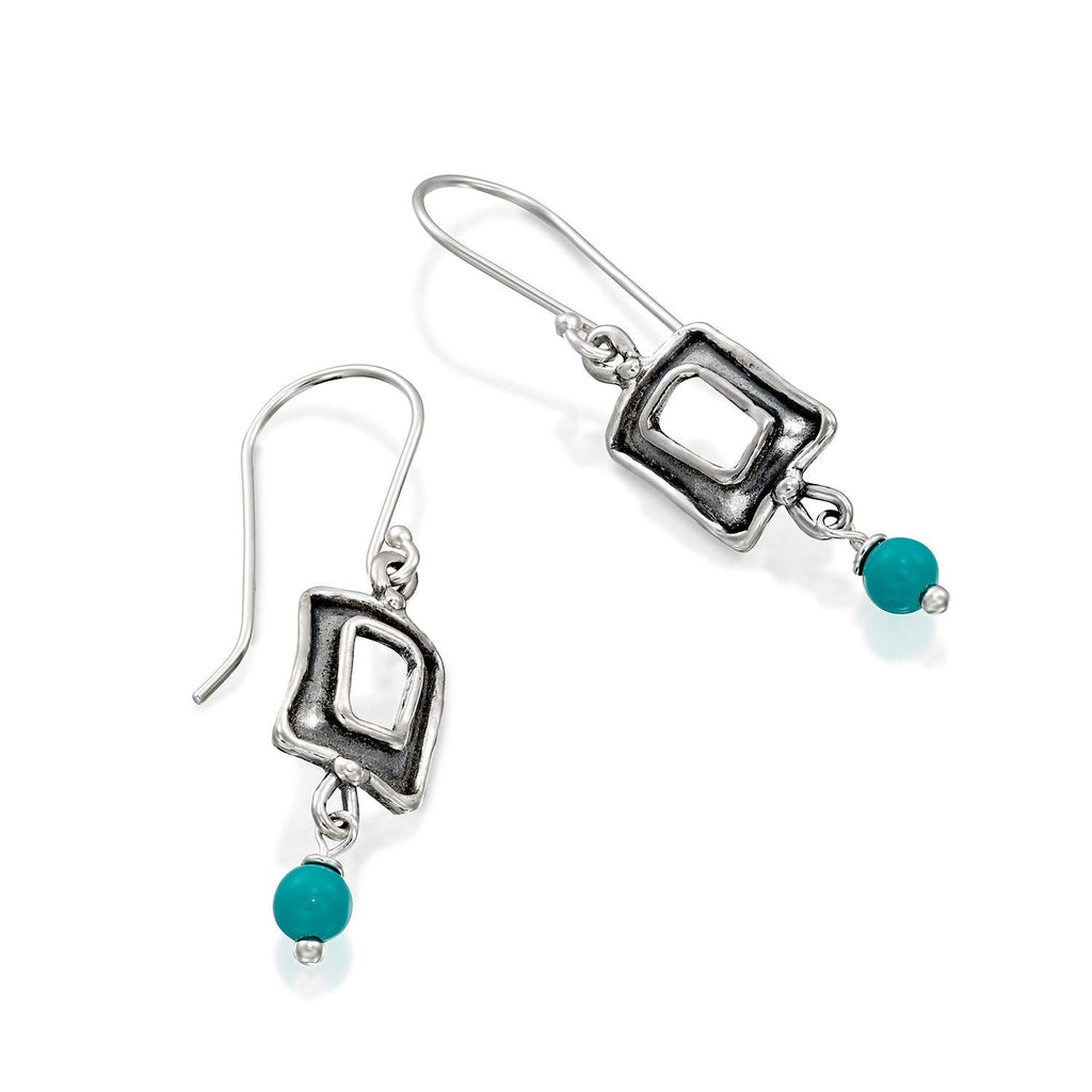 Retro Design Rectangle 925 Sterling Silver Turquoise Bead Dangle Earrings Classic Women's Jewelry