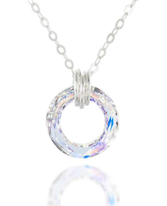 Choice of Swarovski Crystal Cosmic Ring Pendant Necklace, 18
