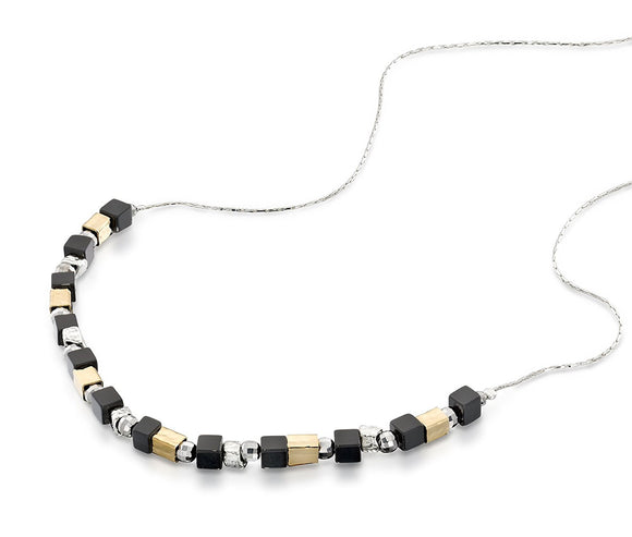 Silver Black Onyx Beaded Necklace Handmade Women's Jewelry, 18