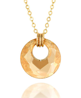 "Gold or Silver Swarovski Crystal Victory Pendant Necklace, 18""+ 4"" Extender"