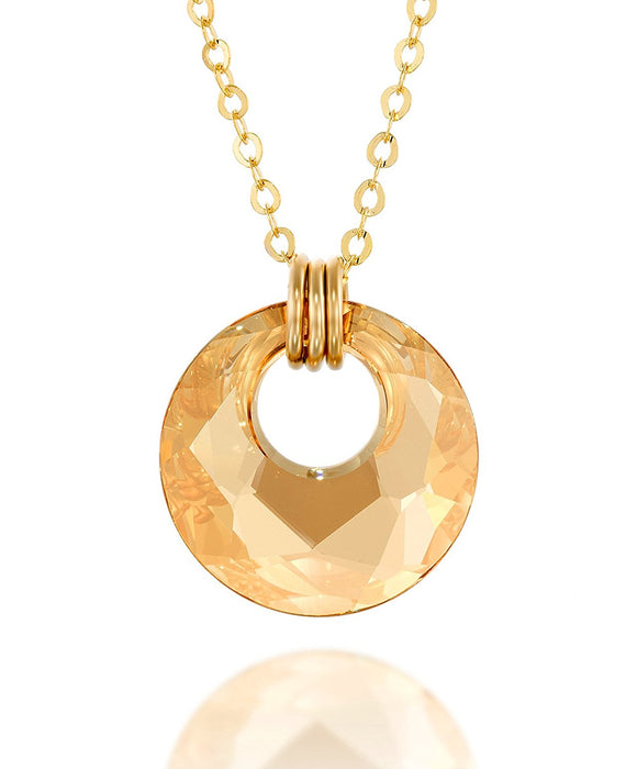Gold or Silver Swarovski Crystal Victory Pendant Necklace, 18