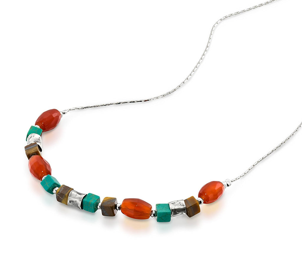 "Tiger's Eye Turquoise & Carnelian 925 Sterling Silver Beaded Necklace Women's Jewelry, 18"" + 4"" Extender"