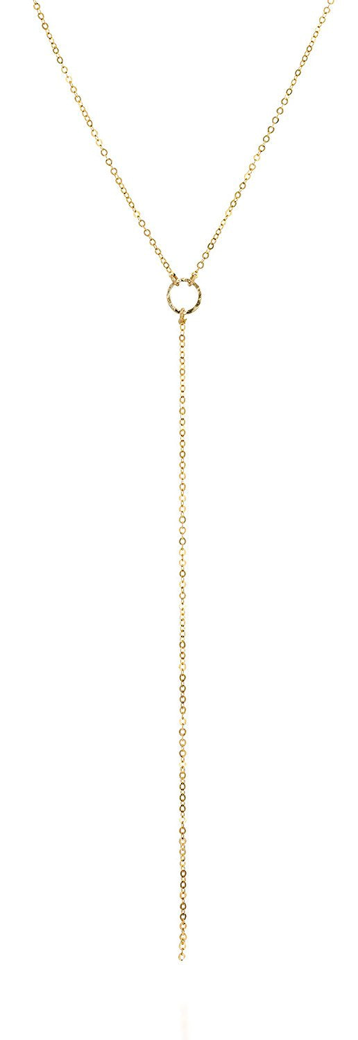14k Gold-Filled Lariat Y Necklace with Textured Ring, 18