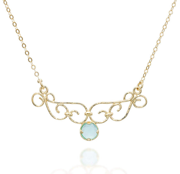 Unique Women's Aqua Quartz Pendant Gold Layering Necklace, 18