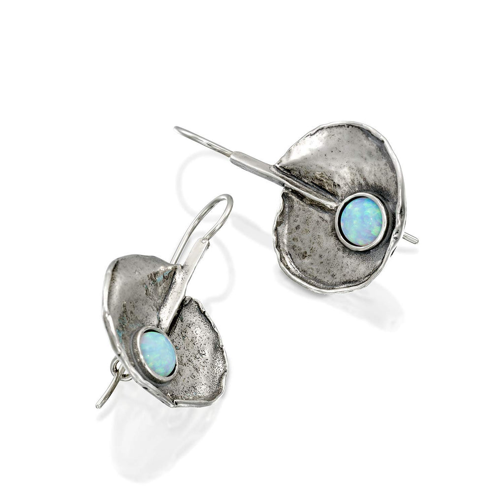 Lotus Leaf 925 Sterling Silver Earrings with Created White Opal and Secure Closure Wire & Hook Backs