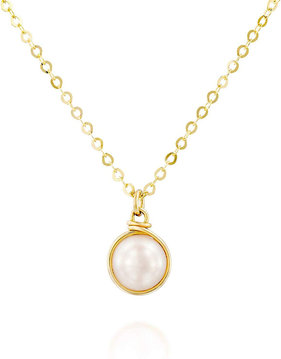 Hand Wrapped 8 mm Cultured Pearl Pendant 14k Gold-Filled Necklace, 18