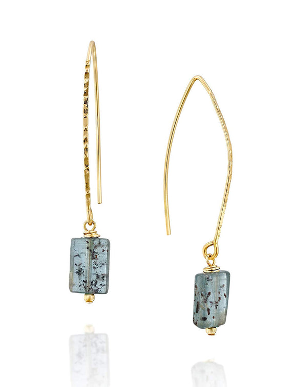 Stera Jewelry Women's 14k Gold-Filled Kyanite Gemstone Dangling Long Wire Threader Earrings