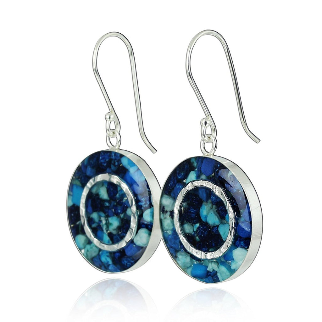 Shades of Blue Gemstone Earrings Unique Round Cluster 925 Sterling Silver with Resin Enamel Coating