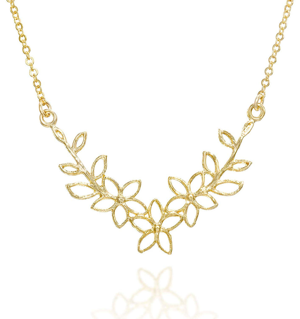 "Flowers Pendant 14k Gold Plated Silver Garland Necklace, 18"" + 4"" Extender"