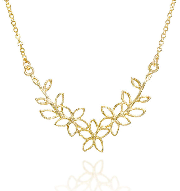 Flowers Pendant 14k Gold Plated Silver Garland Necklace, 18