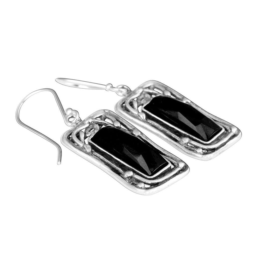 Ornate Rectangle Silver and Faceted Black Onyx Dangle Earrings with French Wire Hooks