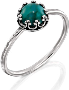 Antique Style Hammered 925 Sterling Silver Compressed Turquoise Ring, Women's Sizes 5, 6, 7, 8