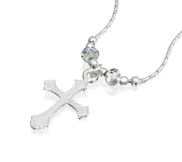 Girls Ornate Silver Cross Pendant Necklace with 2 Swarovski Crystals Paradise Shine, 16