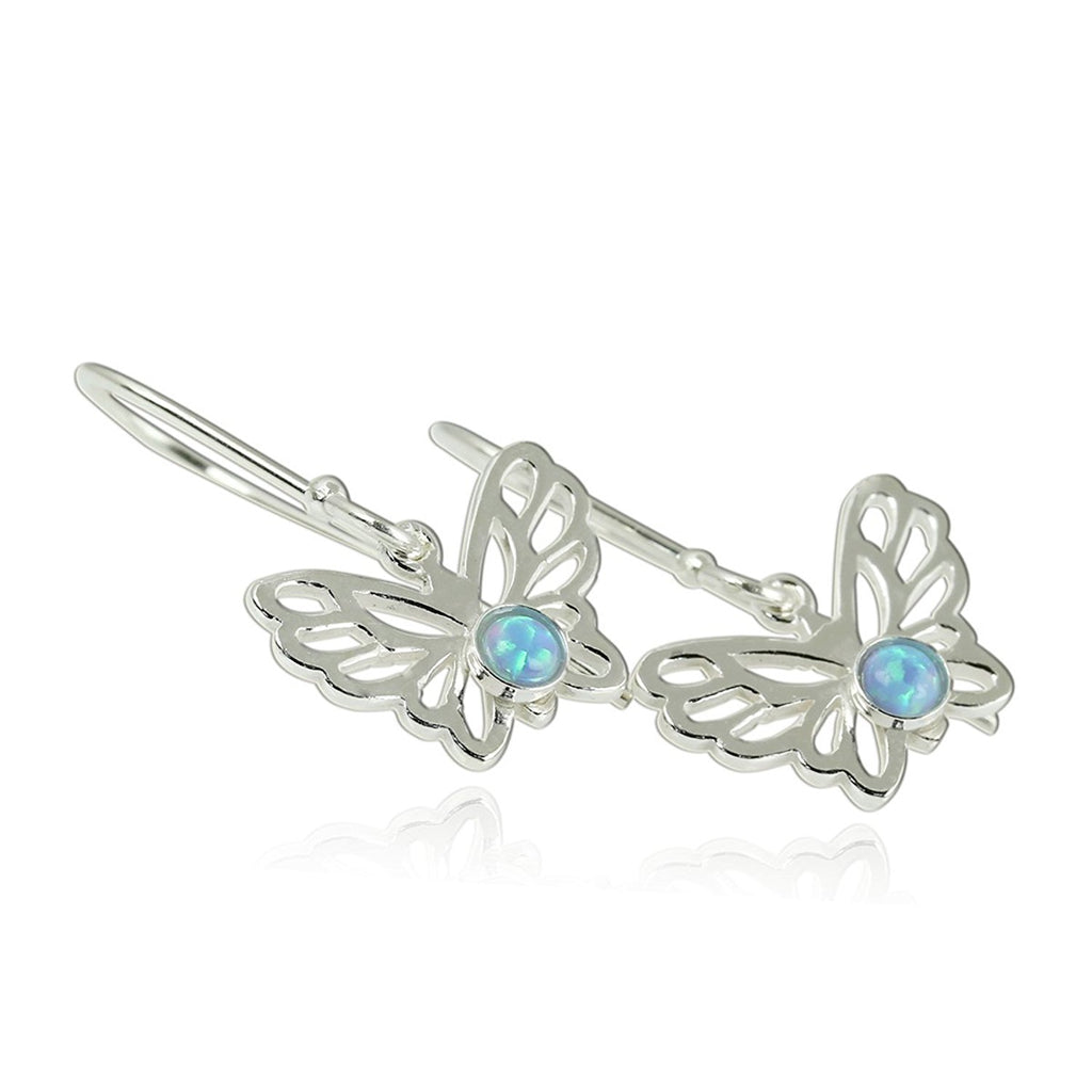 Butterfly Jewelry Created Opal 925 Sterling Silver Earrings Charming Gift for Girls Teens or Nature Lover