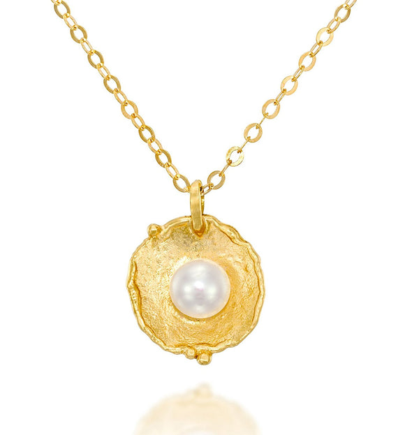 Antique Style Gold Pearl Pendant Necklace Bridal Wedding Jewelry, 18