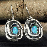 Rose Earrings in 925 Sterling Silver with Created Blue Fire Opal and Wire & Hook Secure Backs