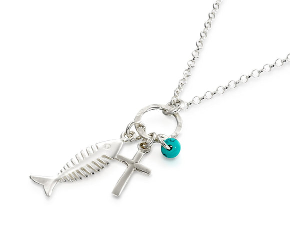 Fish & Cross Pendant with Turquoise 925 Sterling Silver Necklace Made in the Holy Land, 18 + 4