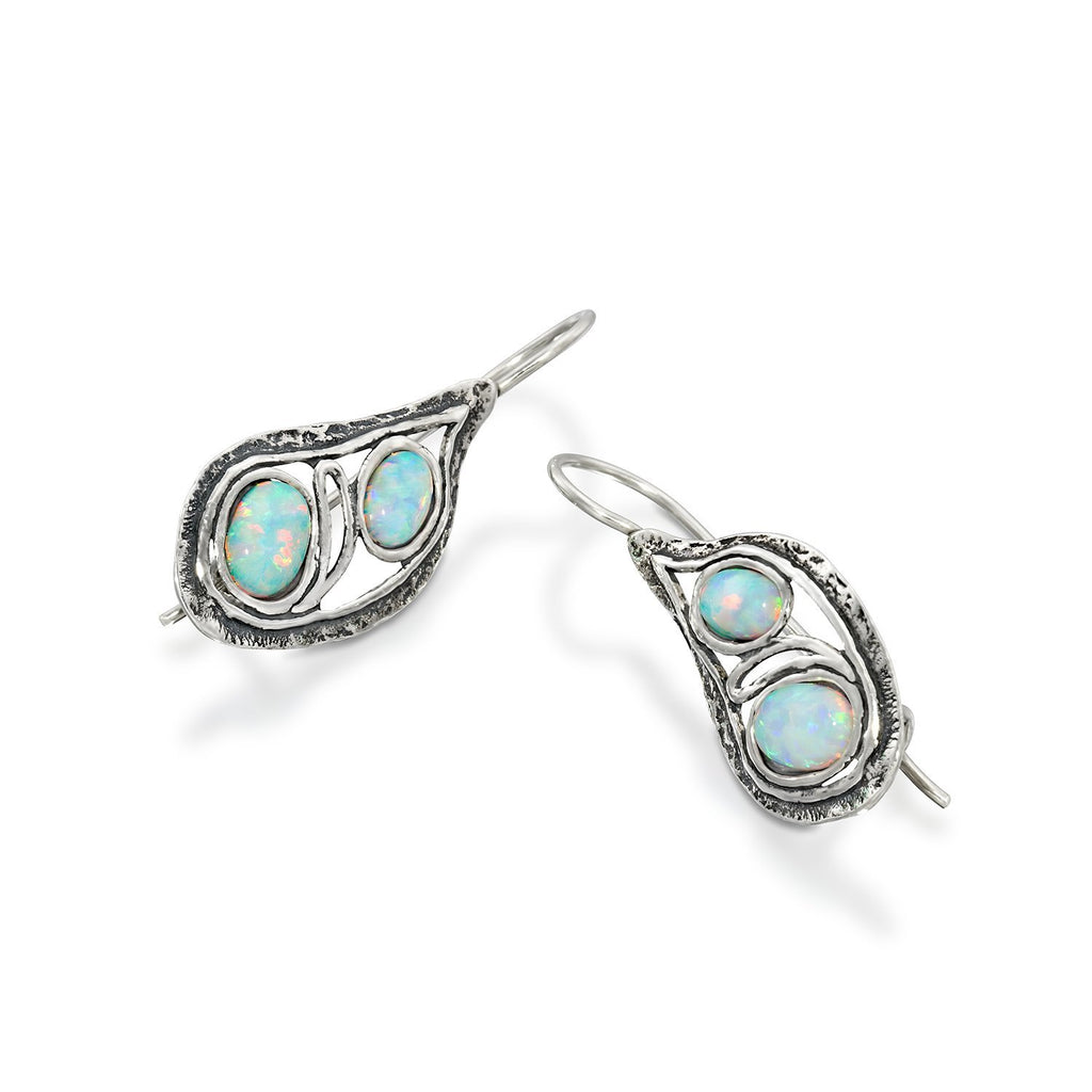 925 Sterling Silver Teardrop Earrings with Two Created Opals Elegant Free Form Unique Artisan Design