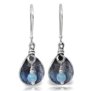 Stera Jewelry Vintage Style 925 Sterling Silver Petal Earrings with Created Blue Fire Opal Beads
