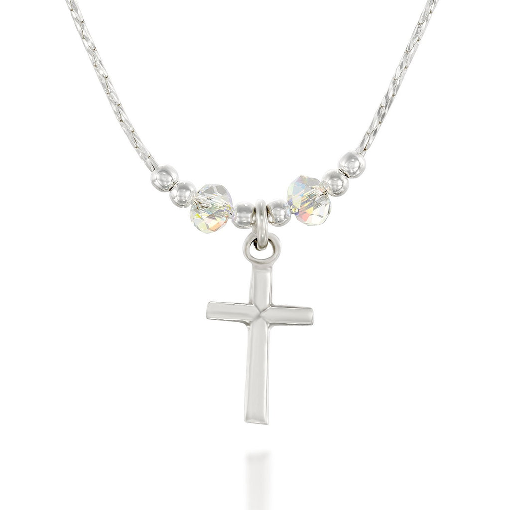 "Girls Silver Cross Pendant Necklace with Swarovski AB Crystals, 16"" + 4"" Extender"