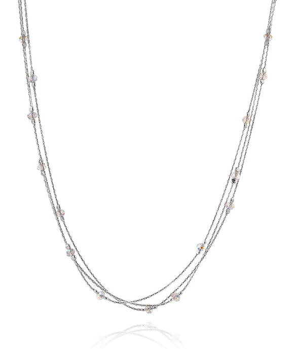 Triple Strand Silver Necklace with Swarovski Crystals, 18