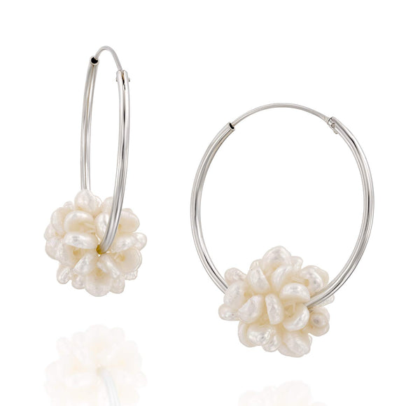 Stera Jewelry 925 Sterling Silver Wedding Bridal Cultured Pearl Cluster Endless Hoop Earrings