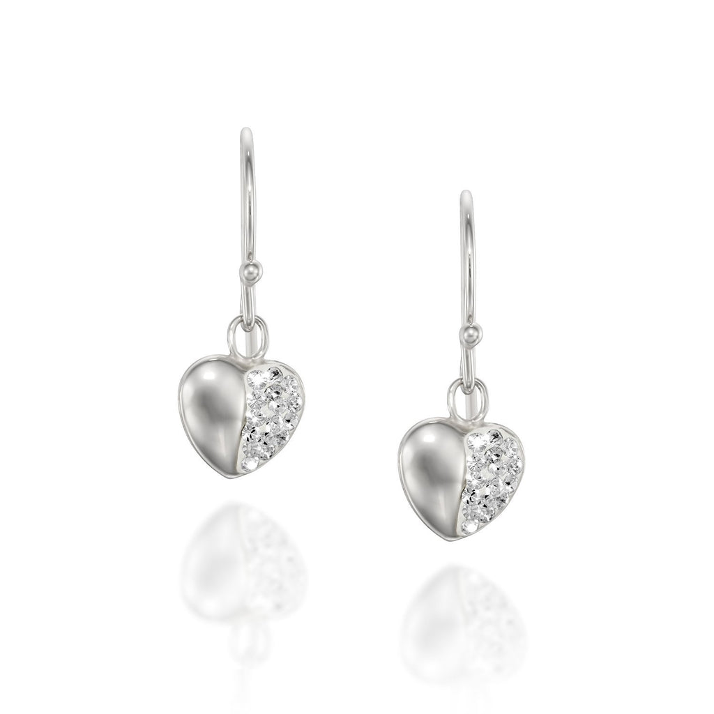 Dainty Gold or Silver Swarovski Crysatl Pavé Heart Earrings