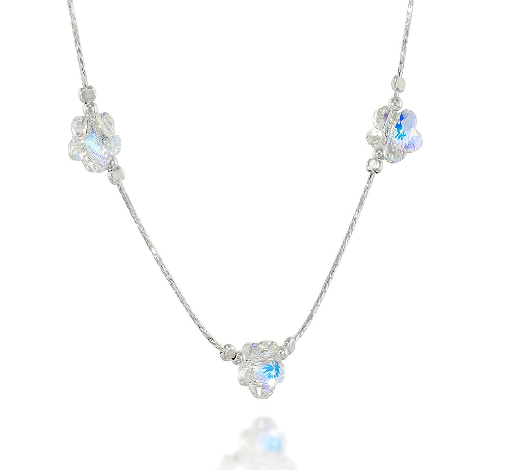 "Girls Swarovski AB Crystal Flowers Necklace, 16"" + 4"" Extender"