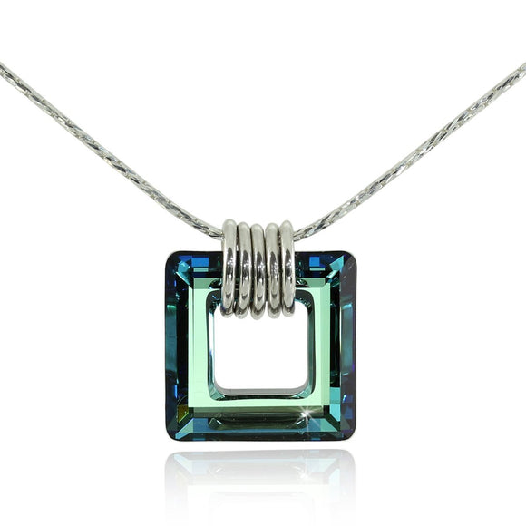 Choice of Color Bermuda Blue or AB Swarovski Crystal Square Pendant Necklace, 18