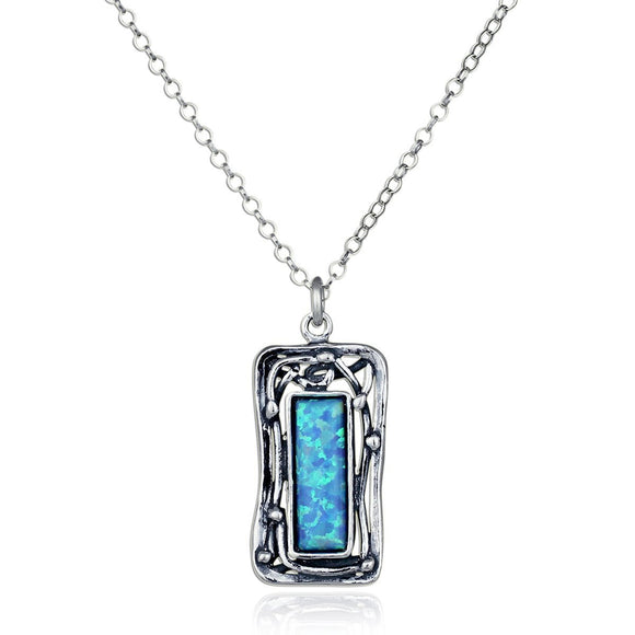 Ornate Rectangle Created Blue Fire Opal Pendant 925 Sterling Silver Necklace, 18