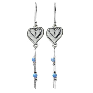 Hearts Earrings Unique Design 925 Sterling Silver Double Heart Dangle Earring with Created Blue Fire Opal