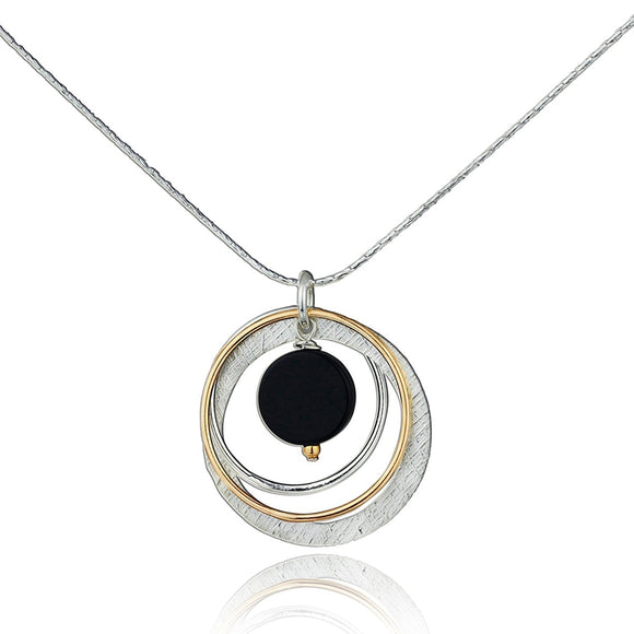 Two Tone Black Onyx Multi Hoops Pendant Necklace, 18