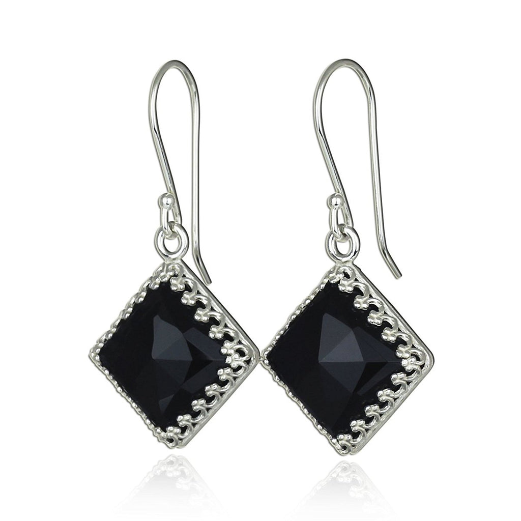Ornate Diamond Shaped 925 Sterling Silver Earrings with Square Black Onyx Gemstone