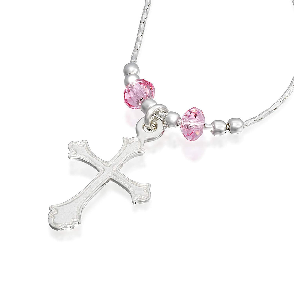 "Girls Ornate Silver Cross Pendant Necklace with Swarovski Pink Crystals, 16"" + 4"" Extender"